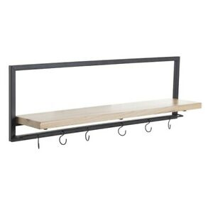 Large Black & Natural Wood Wall Storage Shelf with 6 Metal Hooks by Tobs