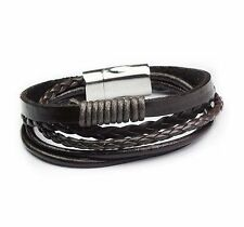 Mens Womens Braided Brown Leather Multilayer Rope Bangle Magnetic Bracelet #B210