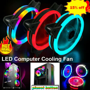 120mm LED Cooling Fan 12V 4Pin to 3Pin RGB Color Computer PC Cooler CPU J4L3