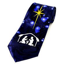 Nativity Star Men's Necktie Christmas Religious Christian Jesus Blue Neck Tie