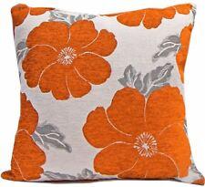 "Poppy Orange White Silver Chenille Thick Cushion Cover 18"" - 45cm"