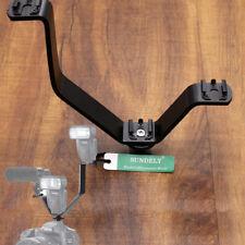 V Shape Hot Shoe Triple Mount Bracket for SLR DSLR Camera Flash & LED Light