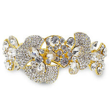 Clear Rhinestone Crystal Flowers Barrette Gold Tone Hair Clip Bridal Party Gift