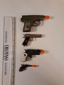 Four Toy Diecast Cap Guns Hubley Halco Victory Mignonette Vintage Pistols...