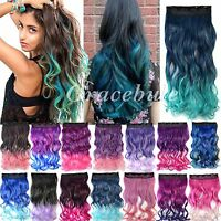 """Women's Curly Hair Extension Clip in 18"""" Long Wavy Synthetic Gradient Ramp Hot"""