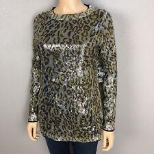 Oleg Cassini Platinum Collection Leopard Sequin Mesh Blouse Small Evening Wear
