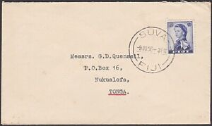 FIJI 1956 2½d rate cover ex Suva to G D Quensell in Tonga...................R585