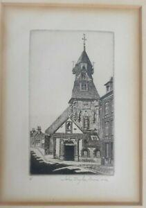 Church of Saint Jean, Laigle, Orne, John Taylor ARMS 1940 original etching