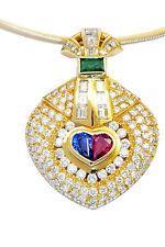 LUXURY VS Diamond Heart Ruby Emerald Sapphire Pendant Heirloom Valentine 1980s
