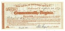 1879 Second Auditors Office, Commonwealth of Virginia Obsolete Note No.1423