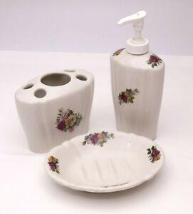 Vintage Crown Heritage 3 Piece Ceramic Bathroom Vanity Set ~ England-Rose