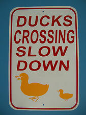 DUCK CROSSING Sign Slow Down 12X18 Aluminum Street Sign, Ducks Crossing USA Made