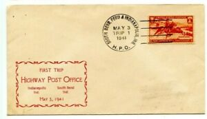 HPO=SOUTH BEND,PERU & INDIANAPOLIS,IND-Trip 1-Cover+Cachet-1941