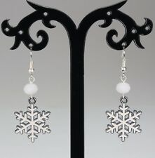 Snowflake Christmas hook earrings, white enameled silver alloy, white crystals