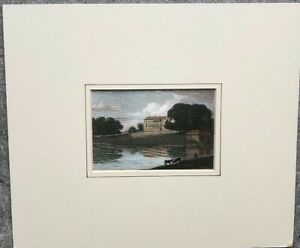 Original Antique 1820 small woodblock matted Print Barrington Hall Essex