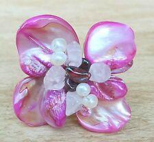 *Freedom Tree* Freshwater Pearl Shell & Rose Quartz Gemstone Ring Adjustable