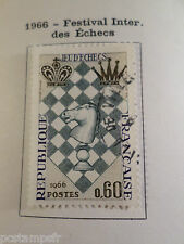 FRANCE 1966, timbre 1480, FESTIVAL ECHECS, oblitéré, VF used stamp