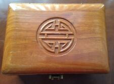Solid Wood Chinese Jewelry Box with Brass Etched Hinges