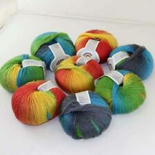 Sale 8balls Cashmere Wool Rainbow Scarf Shawl Sweater DIY Hand Kniting Yarn 10