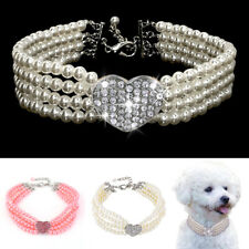 Pet Dog Pearls Diamond Collars Puppy Chihuahua Bling Rhinestone Crystal Necklace