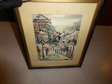 """Vintage Campbell Signed Watercolor Cityscape Painting Framed 7x10"""""""