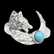 Wolf & Crescent Moon - Genuine Larimar 925 Silver Ring Jewelry s.5.5 Br93487