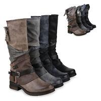 894503 Damen Biker Boots Rockige Stiefeletten Stiefel Gefüttert Mode