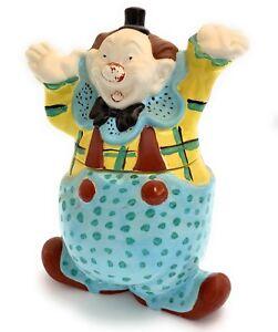 Vintage Retro Circus Clown In Overalls Ceramic Cookie Jar