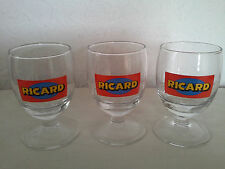 Three french Pastis Ricard Glasses, red and blue