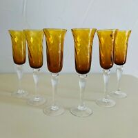 6 - Amber Gold Hand blown Champagne Glasses Hand Made Artisan Glass Flutes