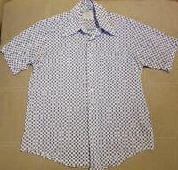 Groovy Vtg 60s 70s FLEETLINE Dress Shirt Polyester Nylon DISCO Retro Mod MENS M