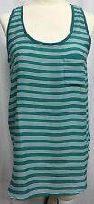 ANN TAYLOR LOFT Teal Green Striped Tank Blouse Top Large PL NEW Shirt