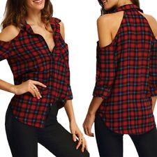 UK Womens Ladies  Cut Shoulder Tartan Long Sleeved Top Check Shirt
