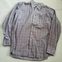 Peter Millar Mens Large Blue Red Plaid Long Sleeve button Front Shirt