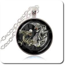 Ying Yang Tiger Drache Cabochon Halskette Anhänger Kette Silber Glas Esoterik