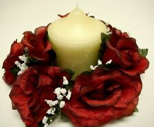 """3 RED BLACK Rose Candle Rings Center Piece Artificial Silk Flowers 3"""" 4005BKRD"""