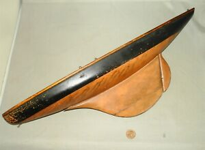 """Antique Early1900's Wooden 18"""" POND BOAT Toy Sailboat - Hull Only"""