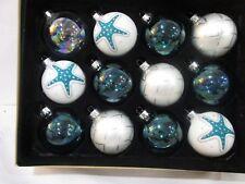 Christmas Coastal Beach Starfish Aqua Blue WhiteGlass Ornaments Decor Set of 12