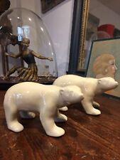 🦋sculpture Statue art deco Céramique Craquelée,paire ours,animalier