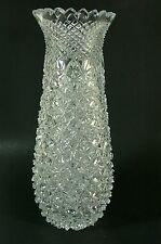 Signed Hand Cut Crystal Vase Turkish Glass Sawtooth Rim