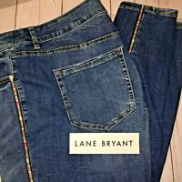 NEW Lane Bryant PLUS 20W or 22W Side Stripe SKINNY JEAN Flattering Distress $80