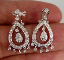 Dangling Diamond Earrings .75 Carat 18K White Gold High Quality Leverback