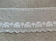 VIntage Cream Crochet Kitchen Window Curtain Valance Home Village  Decor Pattern