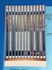 Schon SL Series Pool / Billiards Cue Stick 1994 Dealer Photo Price List