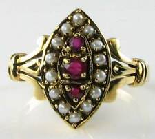 CLASS 9K 9CT GOLD ART DECO INS INDIAN RUBY & PEARL MARQUISE RING FREE RESIZE