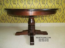 Ethan Allen Antiqued Pine Round Pedestal Dining Table with Leaves  12 6053