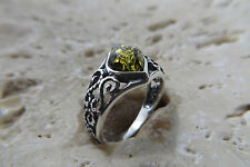 Baltic Amber Ring in Sterling Silver #1018 Size 5, Size J 1/2, Size 49 Green