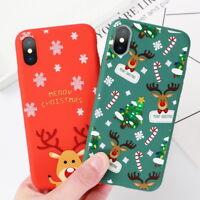 For iPhone XS Max X 7 8 6 6s Plus Xmas Santa Elk Soft Matte Silicone Case Cover