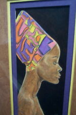 African Elegance by Judy Burke Crowley framed Prismacolor - young woman portrait