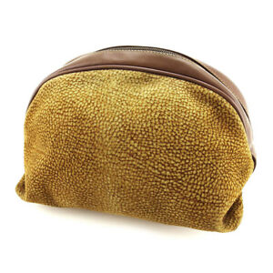 Borbonese Pouch Bag Brown Beige Woman Authentic Used D1747